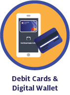 Mobile wallet and debit card icon